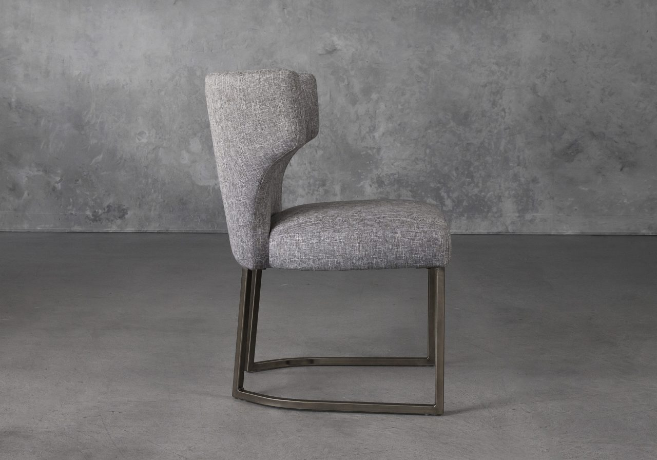 Thelma Dining Chair in Grey (B543) Fabric, Side