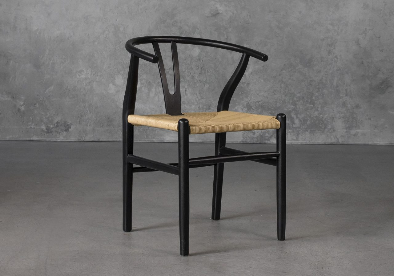 Wishbone Dining Chair in Black, Angle