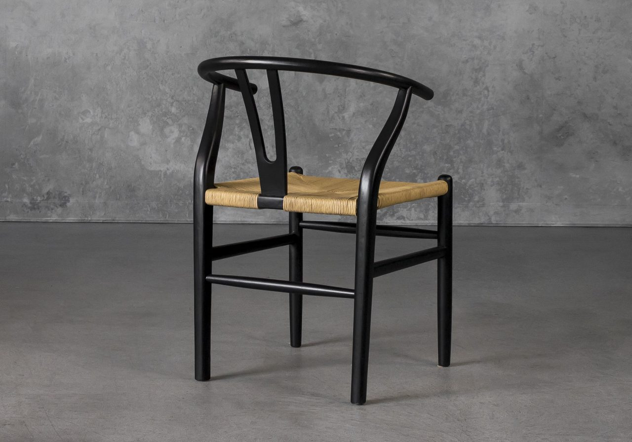 Wishbone Dining Chair in Black, Back
