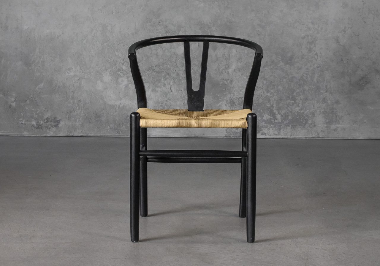 Wishbone Dining Chair in Black, Front