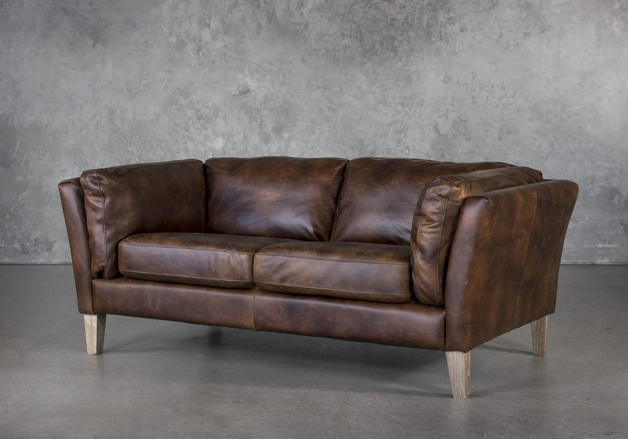 Aspect Loveseat Brown Leather, Angle