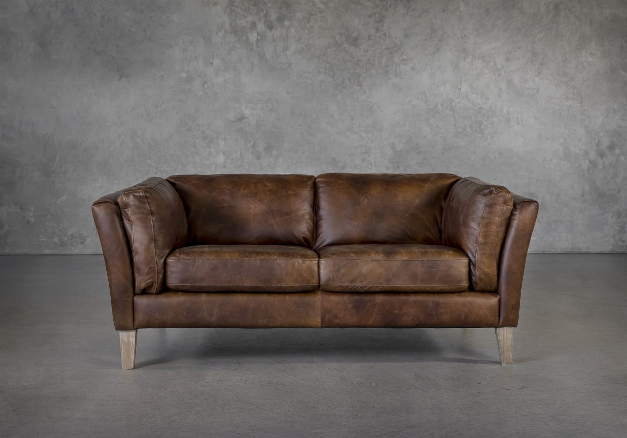 Aspect Loveseat Brown Leather, Front