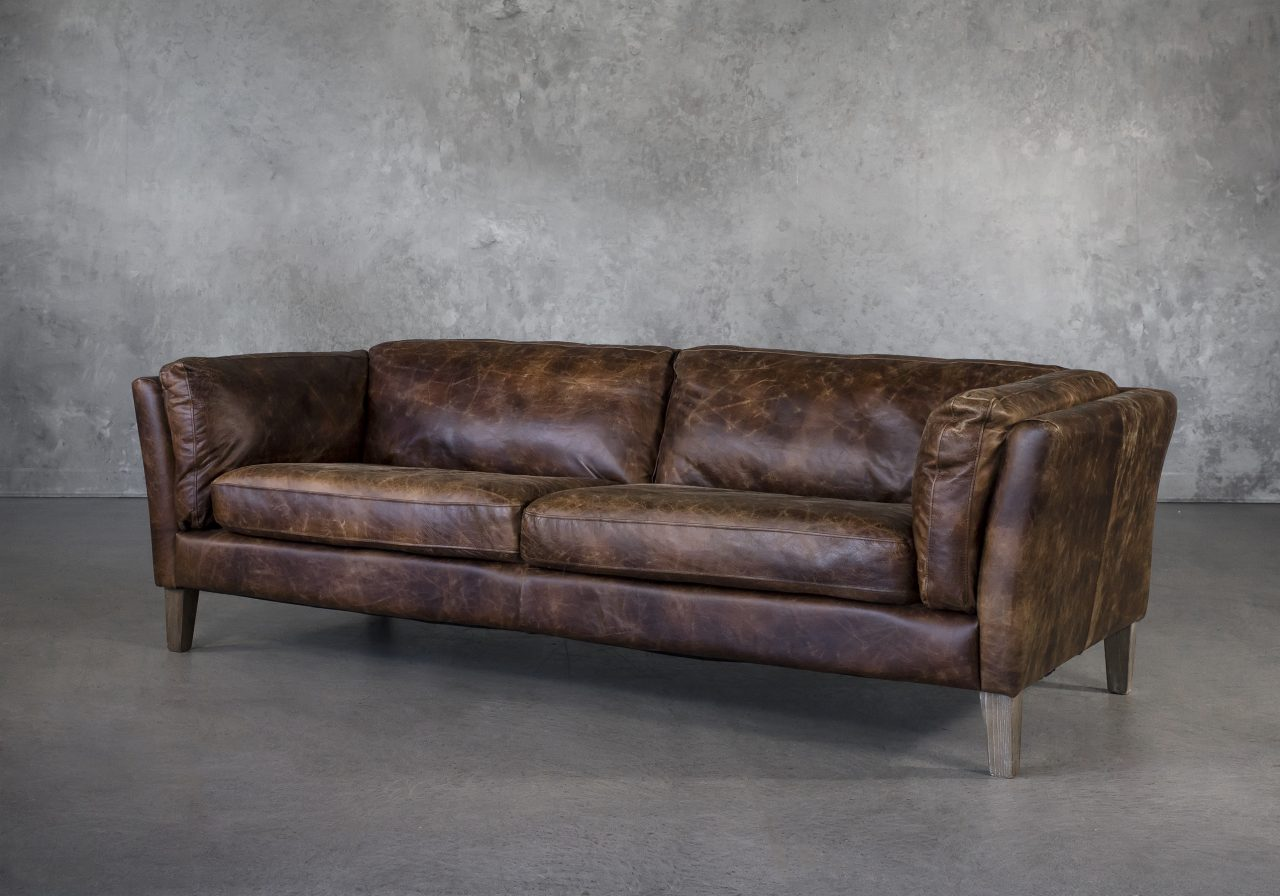 Aspect Sofa Brown Leather, Angle