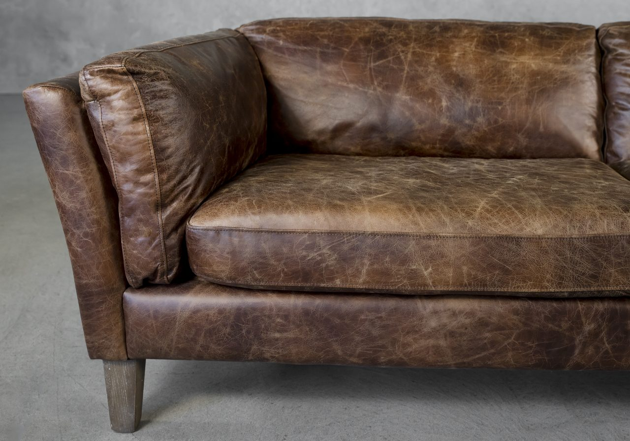 Aspect Sofa Brown Leather, Close Up