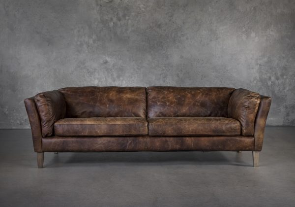 Aspect Sofa Brown Leather, Front