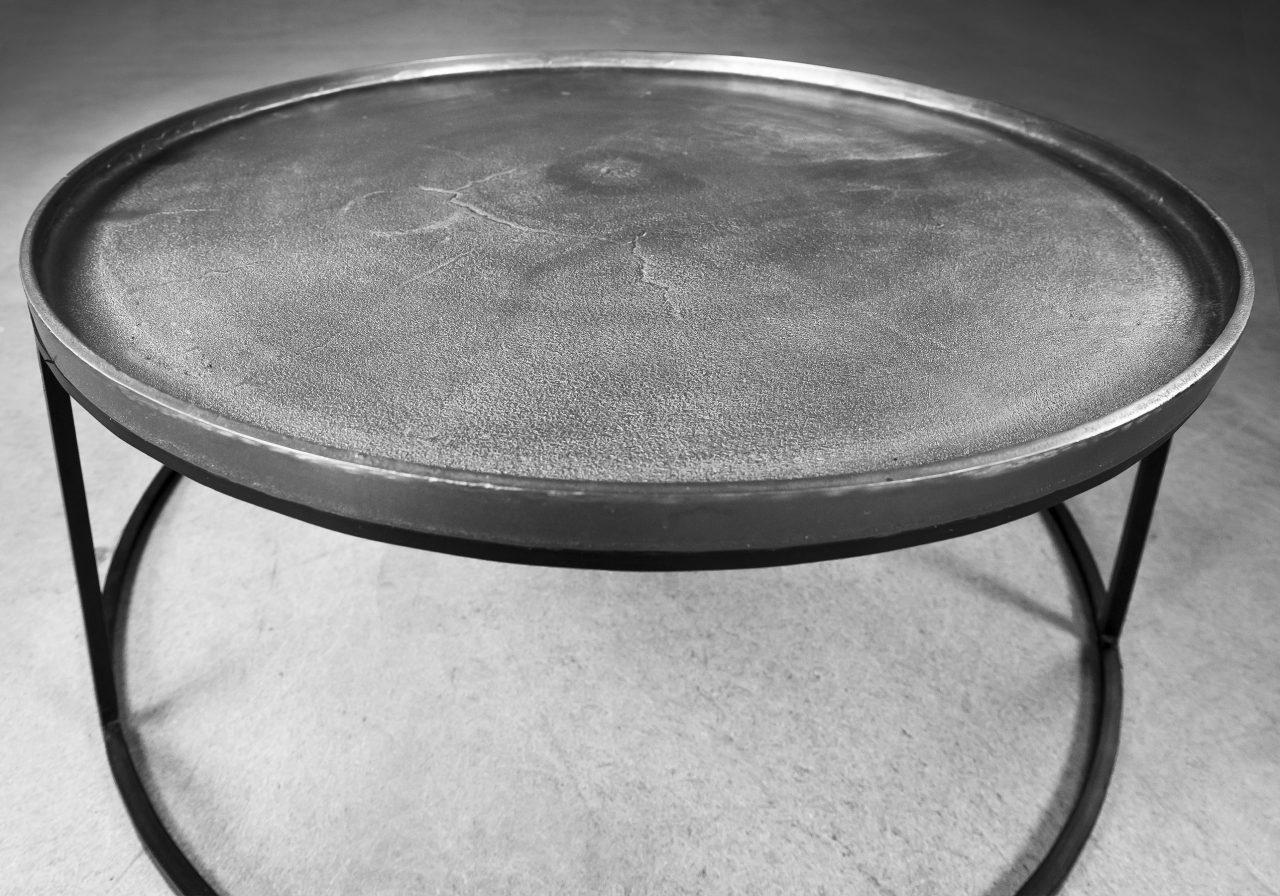 Bari Coffee Table in Nickle, Angle