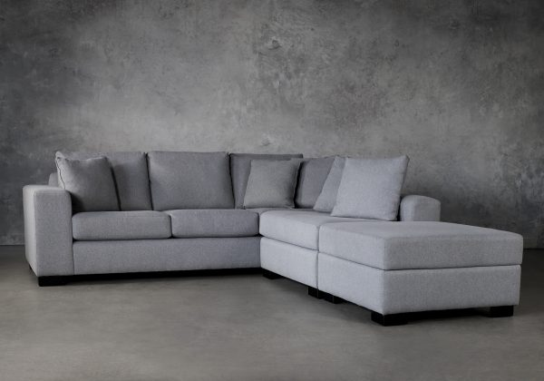 Brock Sectional in Silver Fabric, Angle