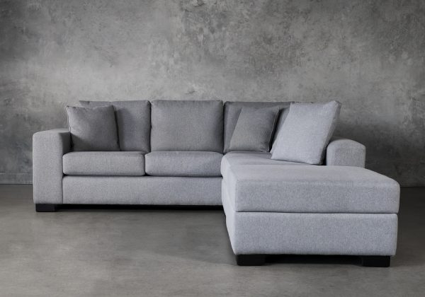 Brock Sectional in Silver Fabric, Front