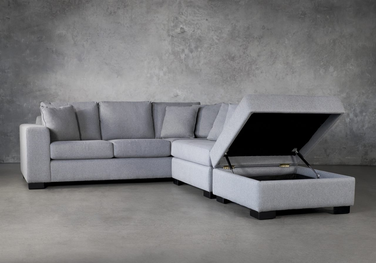 Brock Sectional in Silver Fabric, Ottoman Up