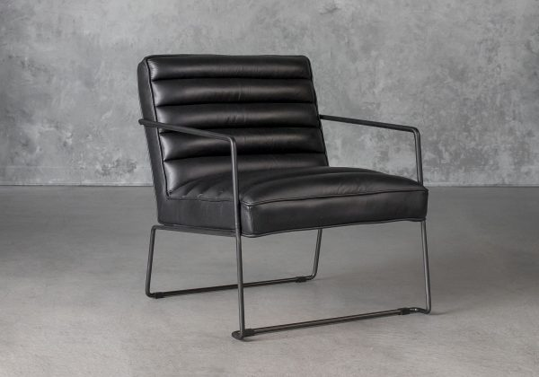 Brody Chair in Black Leather, Angle