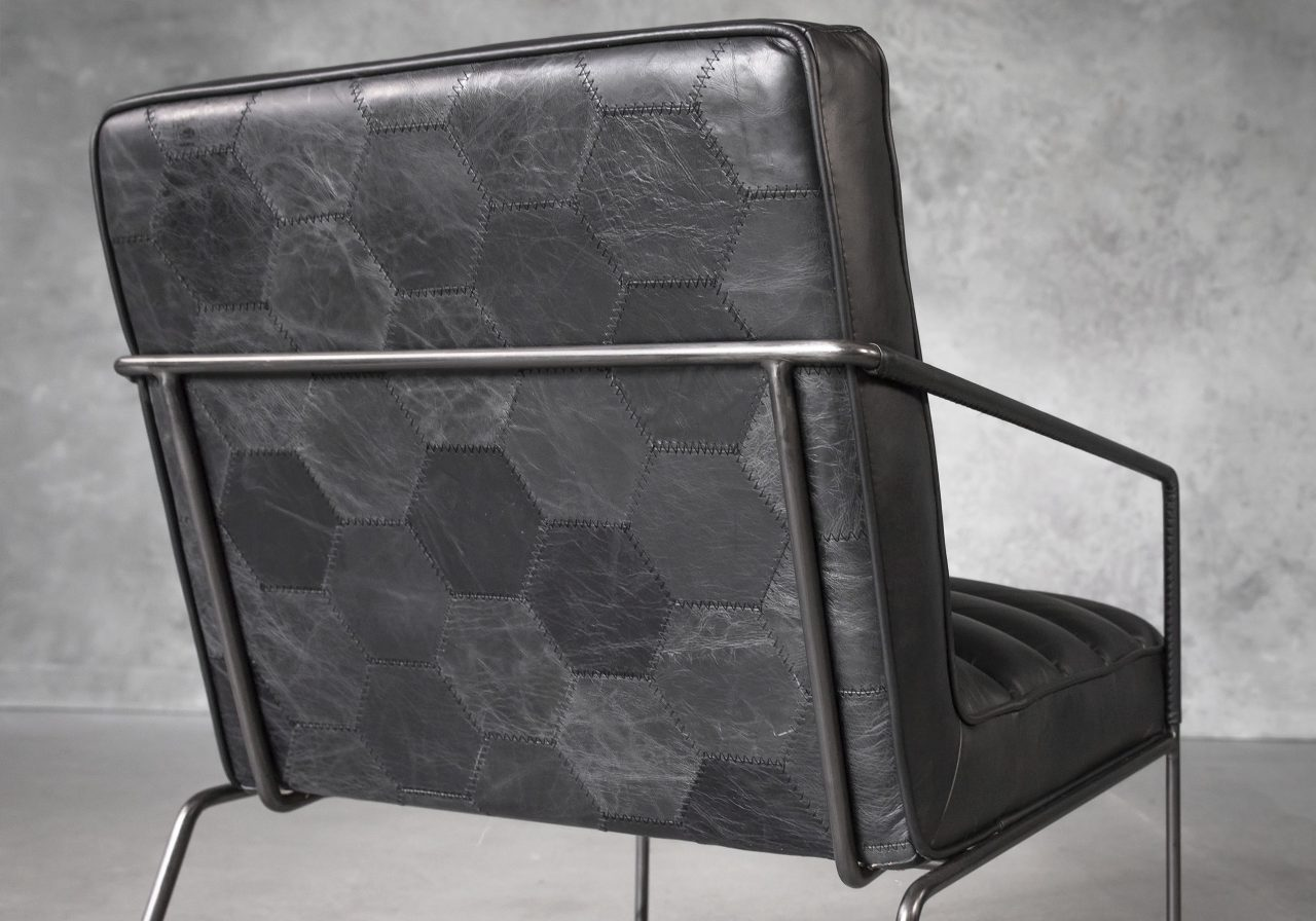 Brody Chair in Black Leather, Close Up