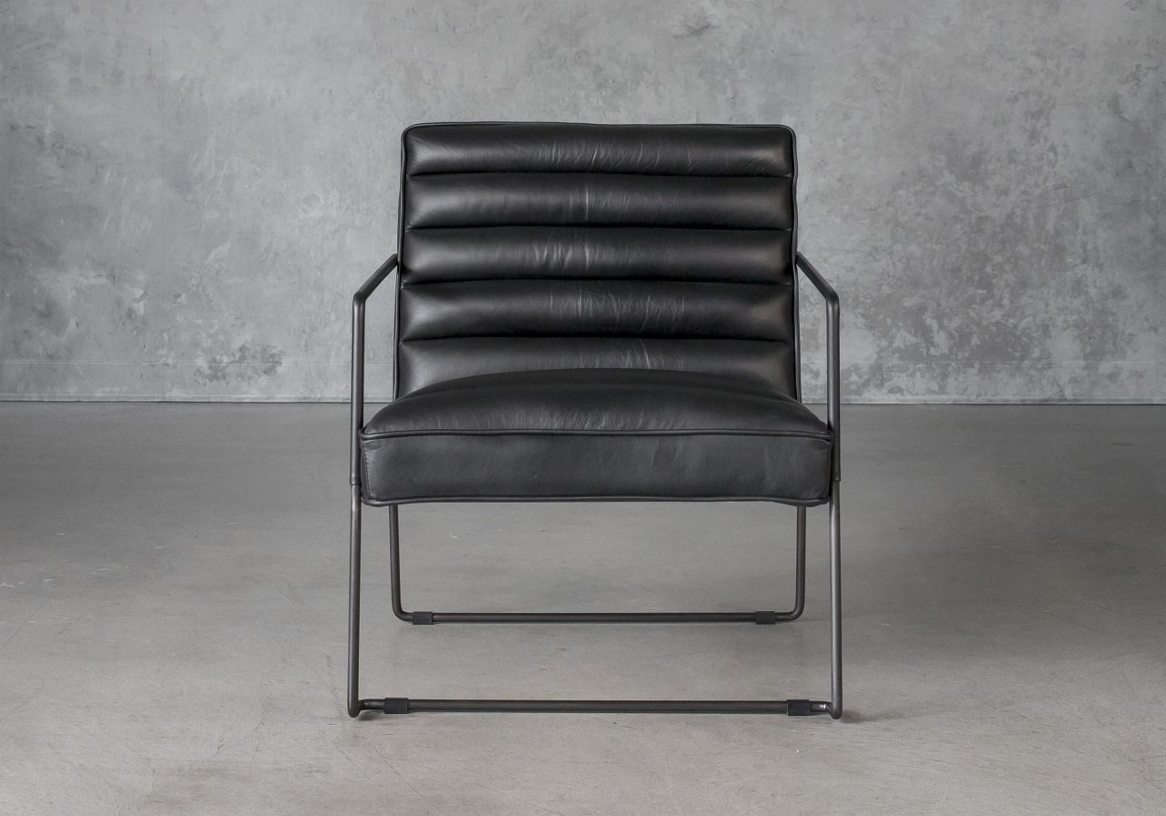 Brody Chair in Black Leather, Front