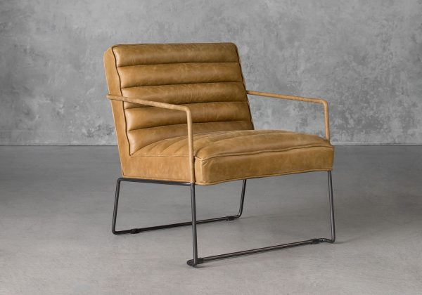 Brody Chair in Tan Leather, Angle