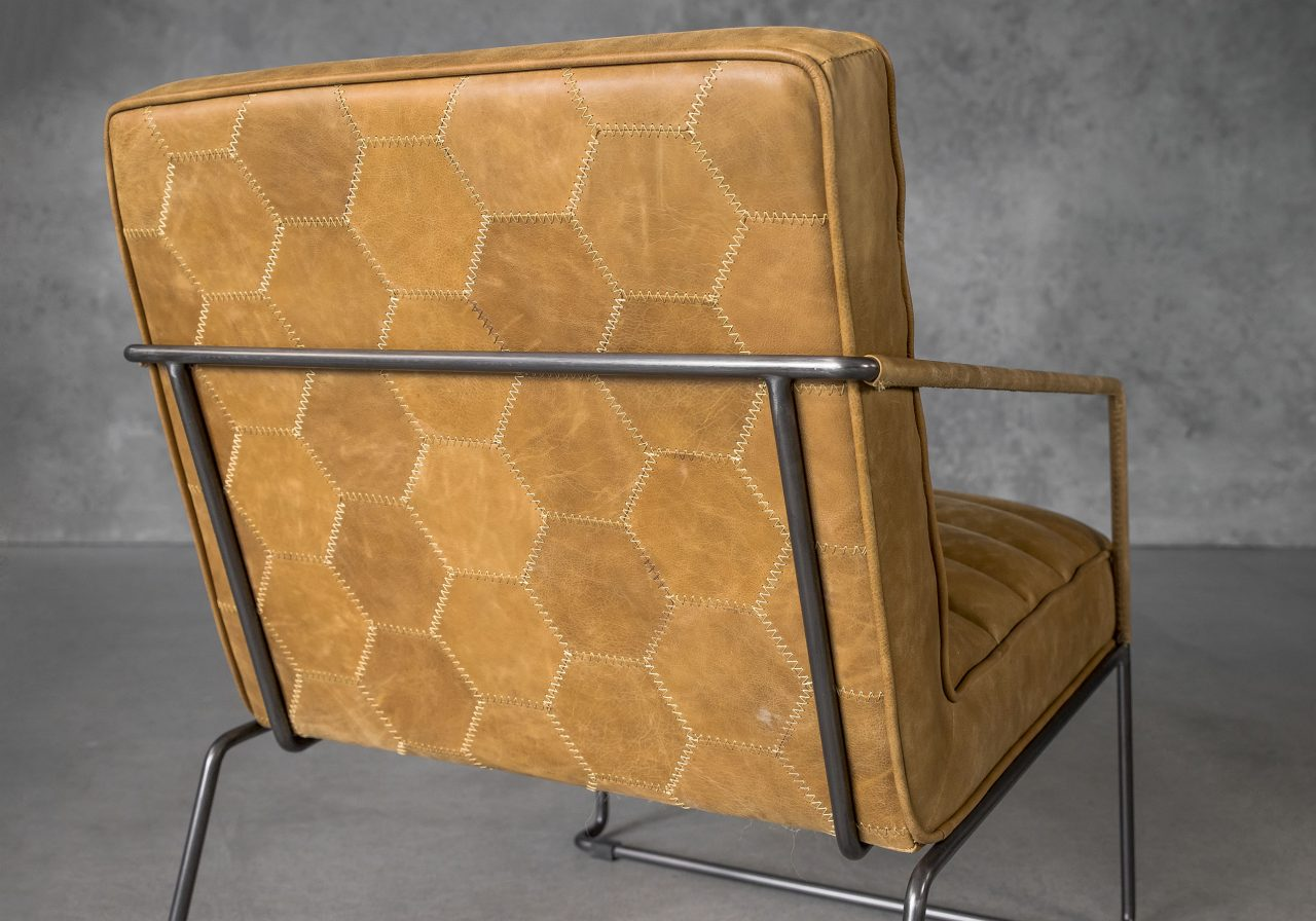 Brody Chair in Tan Leather, Close Up