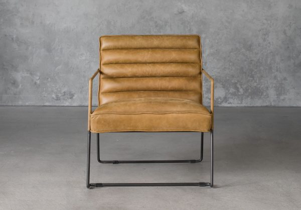 Brody Chair in Tan Leather, Front