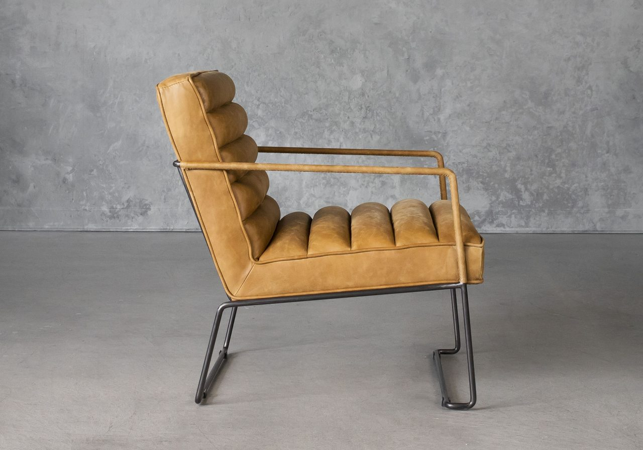 Brody Chair in Tan Leather, Side