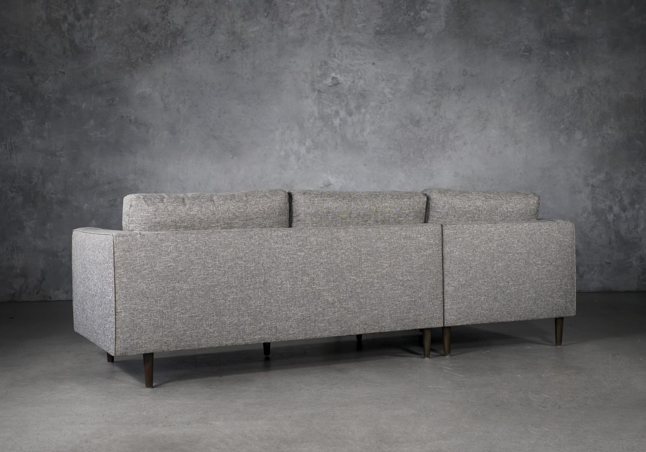 Cooper Sectional in Grey Fabric, SL, Back