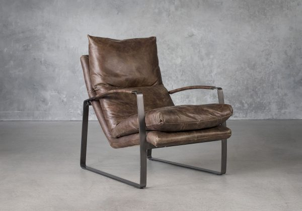 Damo Chair in Brown Leather. Angle