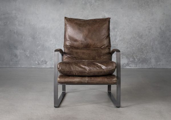 Damo Chair in Brown Leather. Front