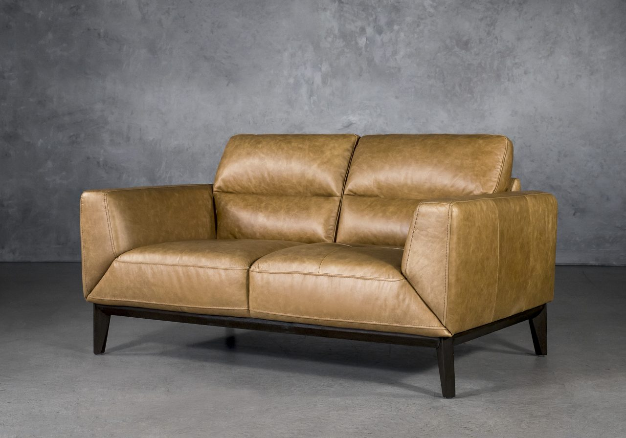 Doolin Loveseat in Camel Leather, Angle