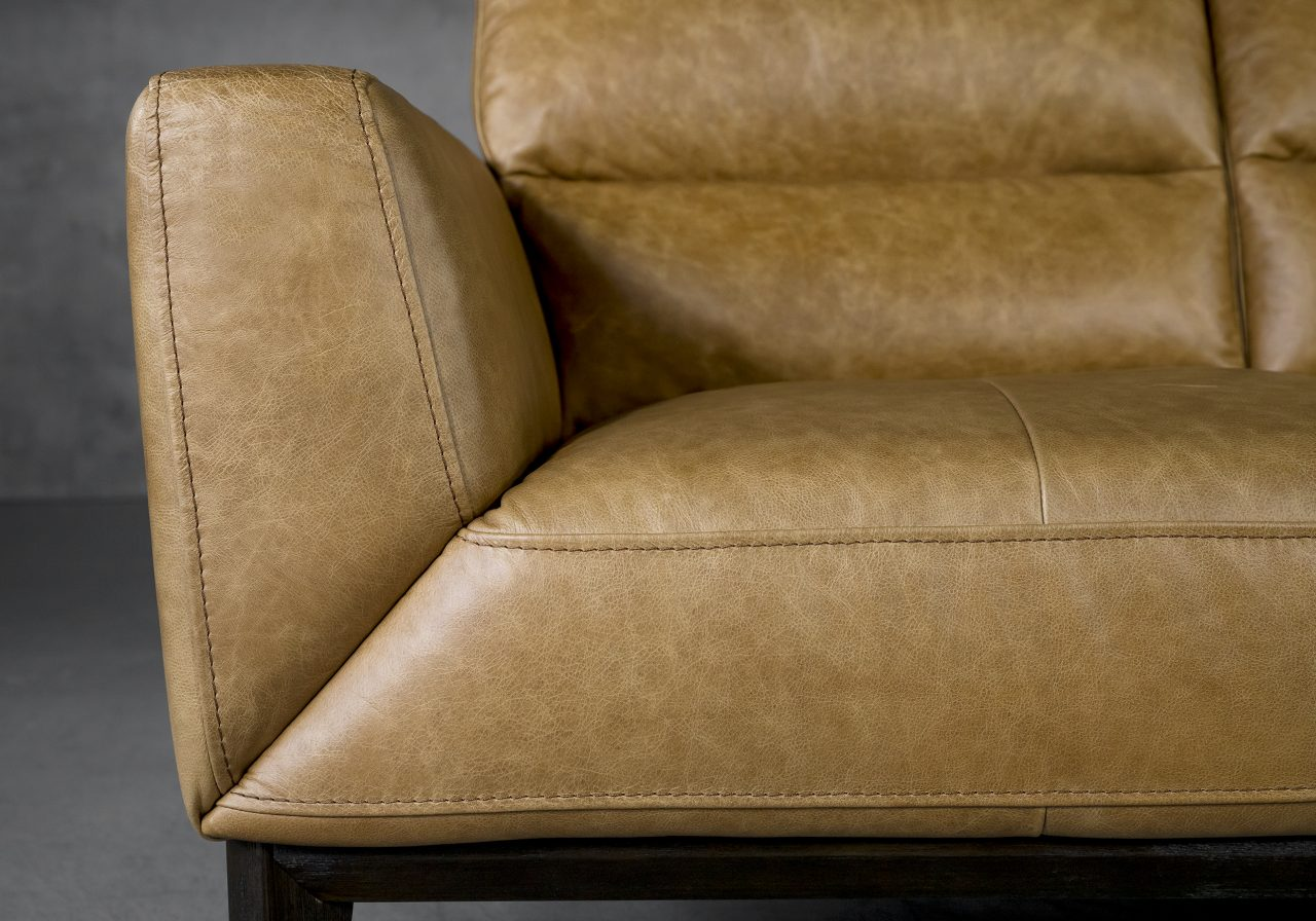 Doolin Loveseat in Camel Leather, Close Up