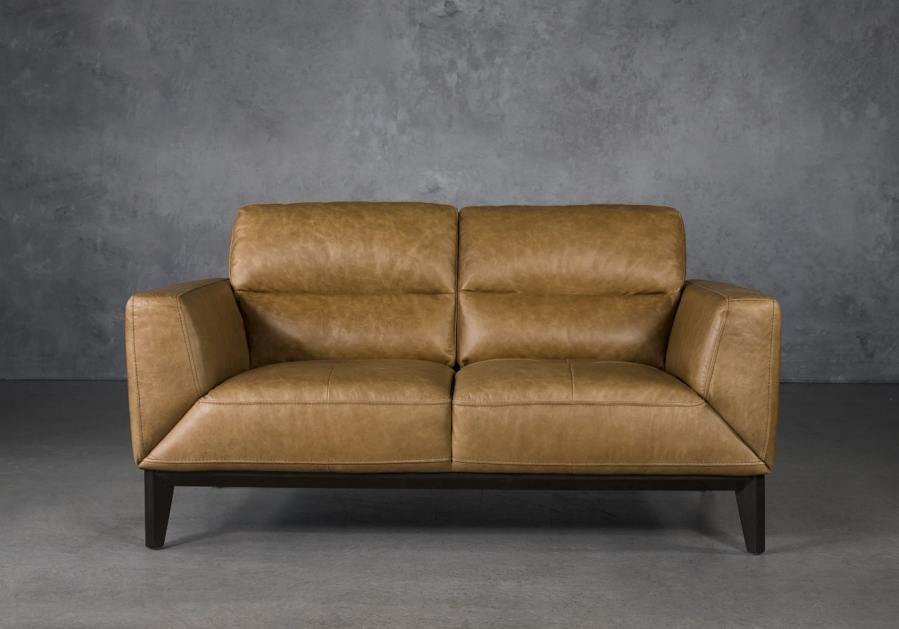 Doolin Loveseat in Camel Leather, Front