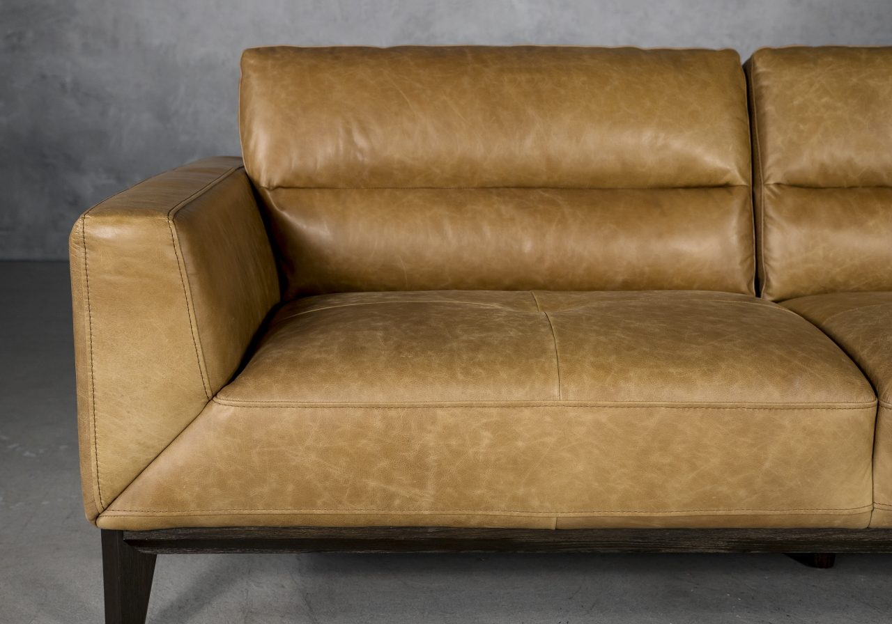 Doolin Sofa in Camel Leather, Close Up