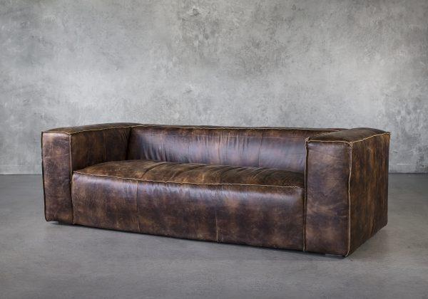 Emma Sofa in Brown Leather, Angle