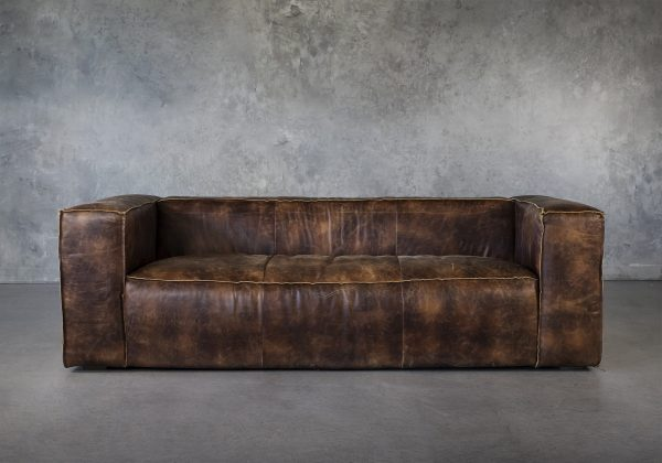 Emma Sofa in Brown Leather, Front