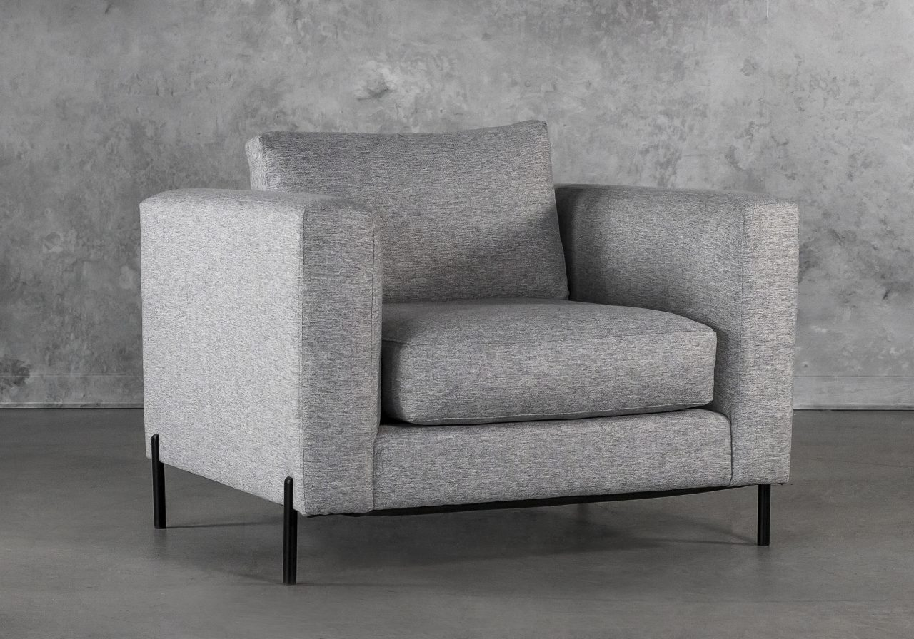 Gerald Chair in Grey Fabric, Angle