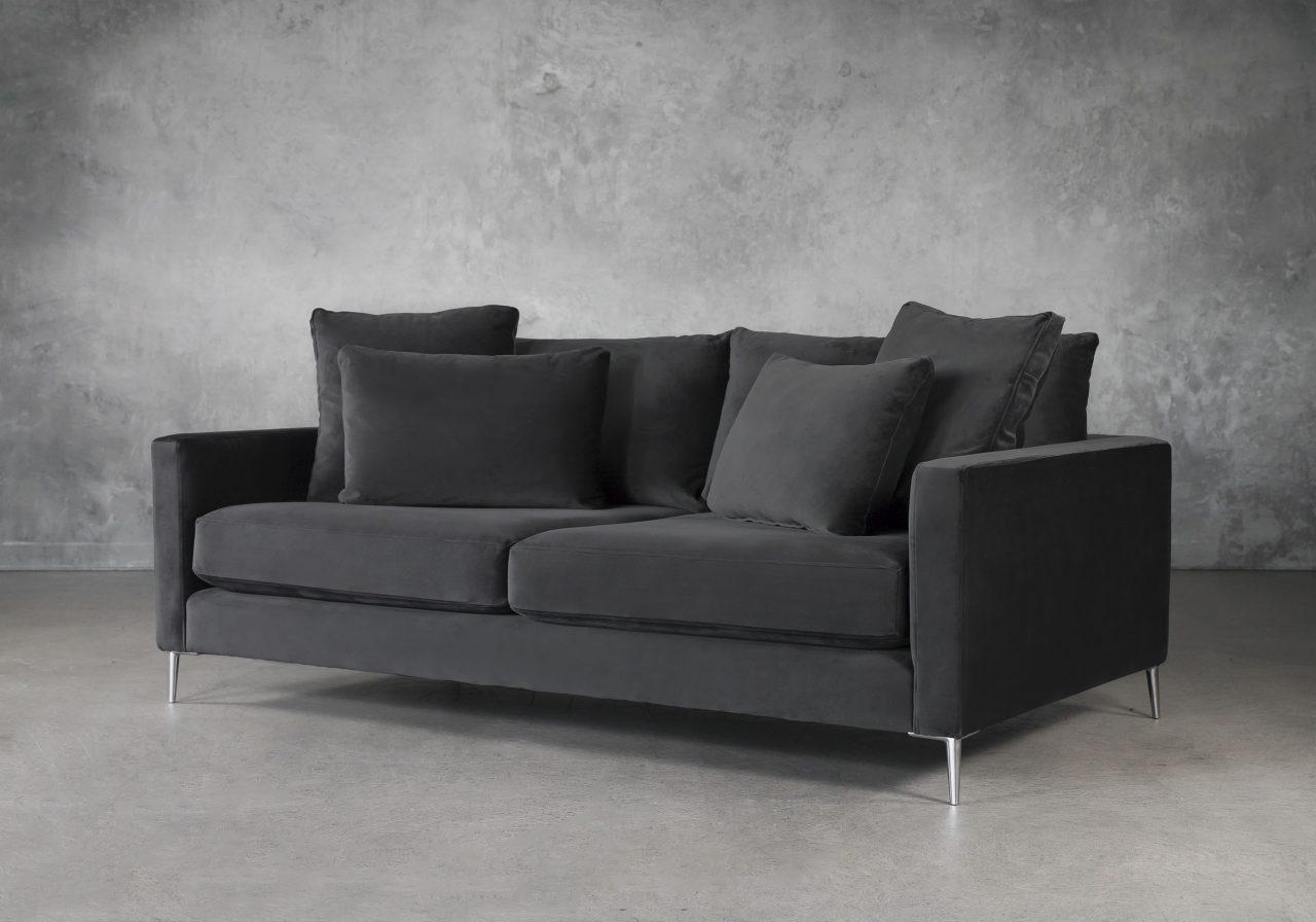 Invidia Sofa in Grey Fabric, Angle