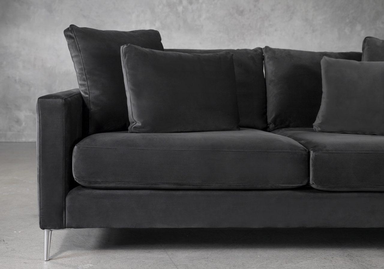 Invidia Sofa in Grey Fabric, Close Up