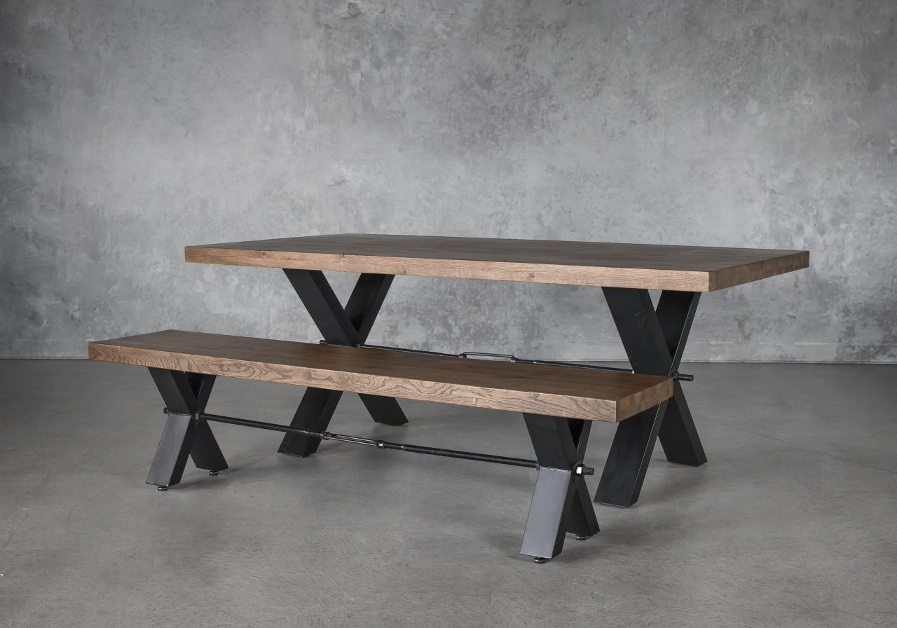 Ironside Medium Dining Table, Angle with Bench