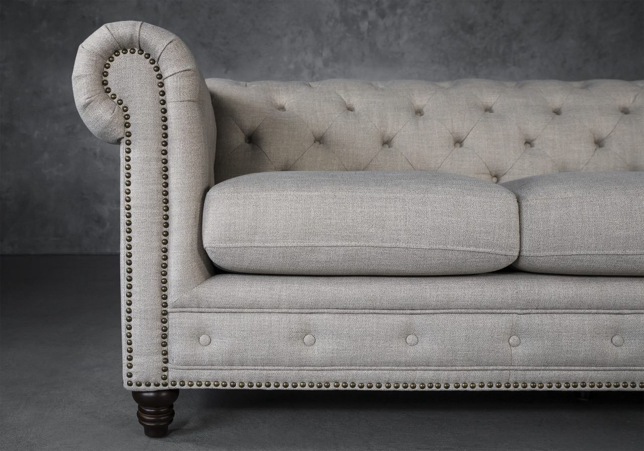Ivy Sofa in Flax Fabric, Close Up