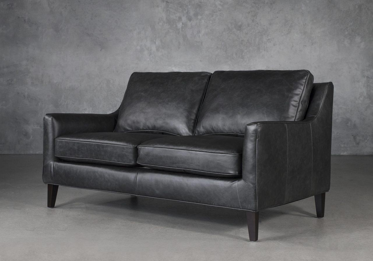 Jen Loveseat in Black Leather, Angle