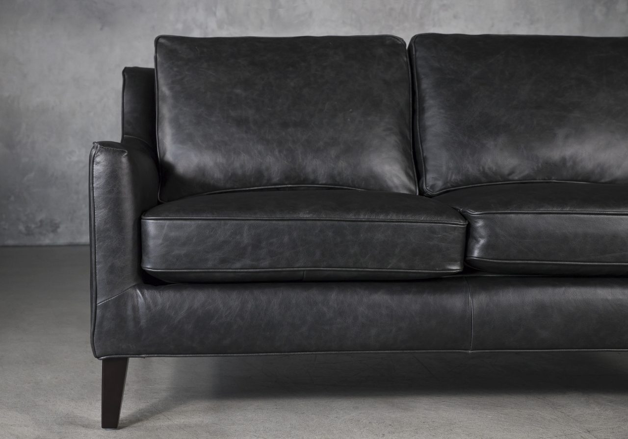 Jen Loveseat in Black Leather, Close Up