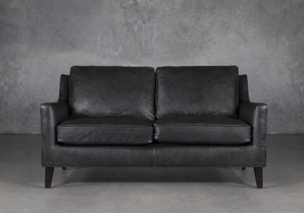 Jen Loveseat in Black Leather, Front