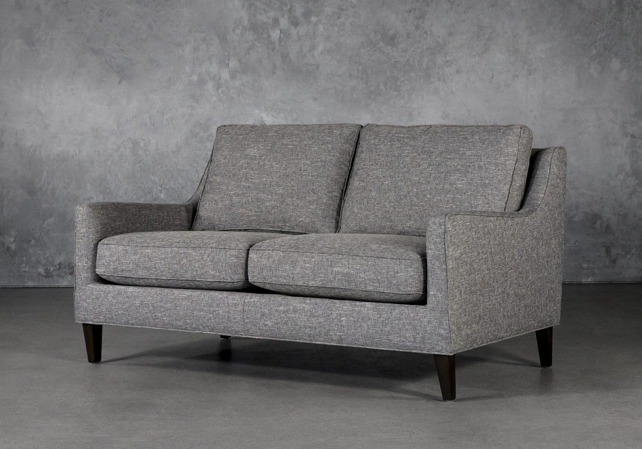 Jen Loveseat in Grey Fabric, Angle