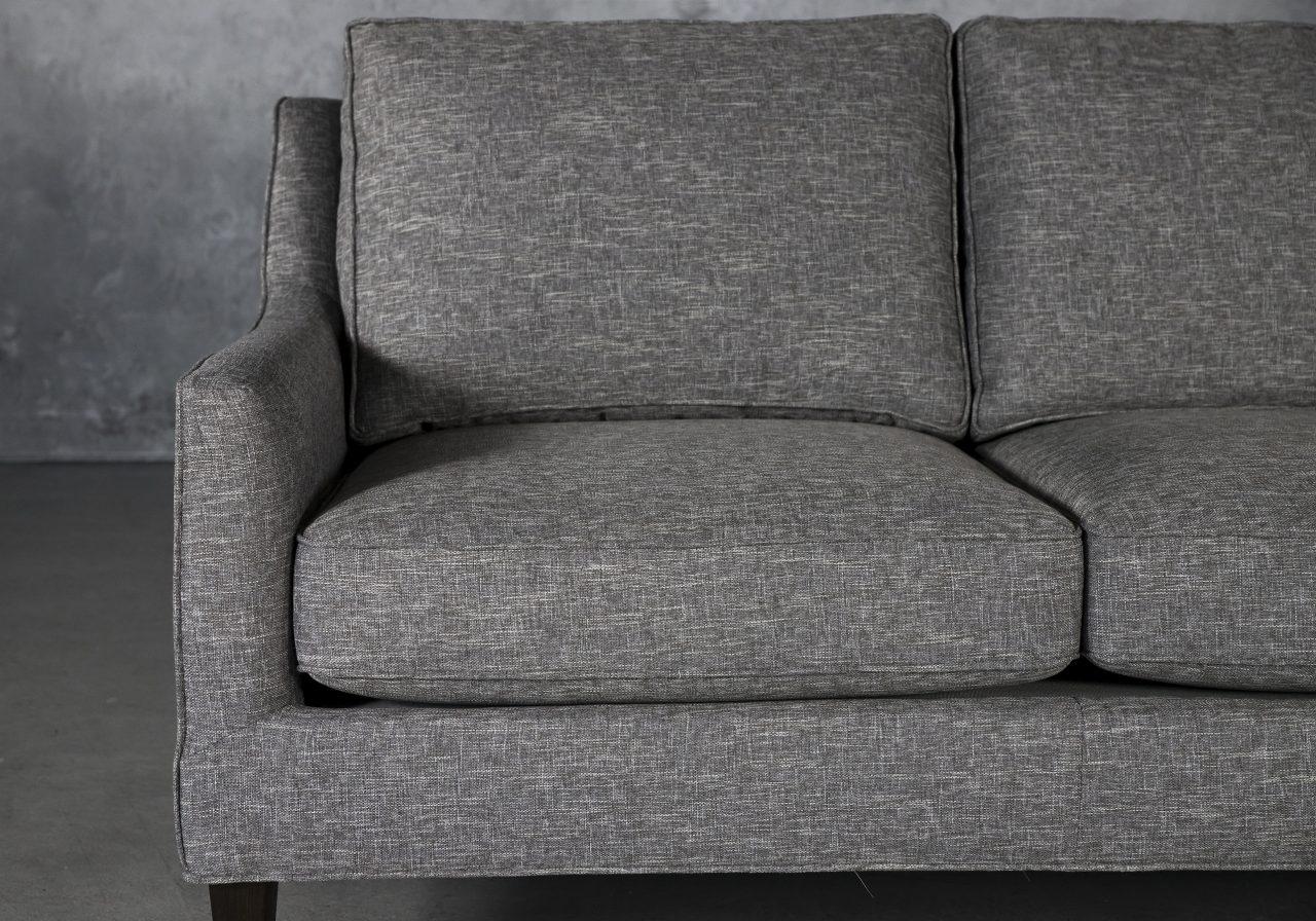 Jen Loveseat in Grey Fabric, Close Up