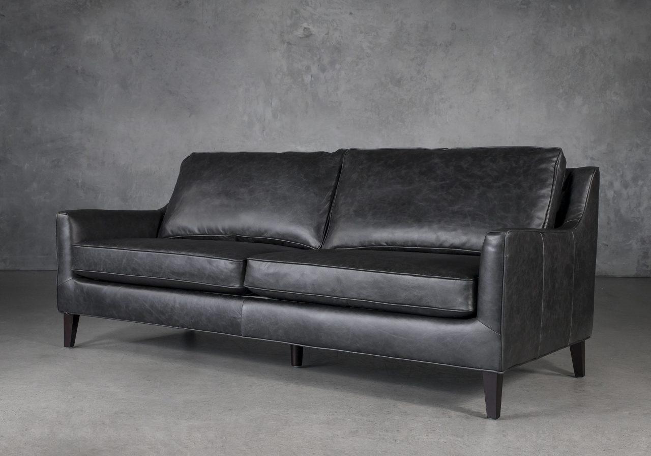 Jen Sofa in Black Leather, Angle