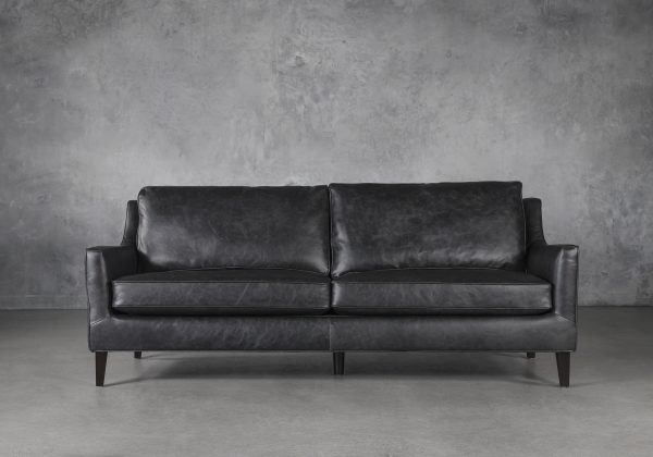 Jen Sofa in Black Leather, Front