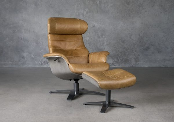 Justin Chair and Ottoman in Leather, Angle