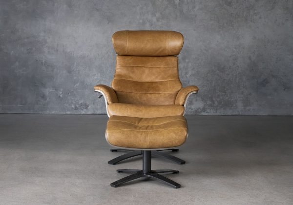 Justin Chair and Ottoman in Leather, Front