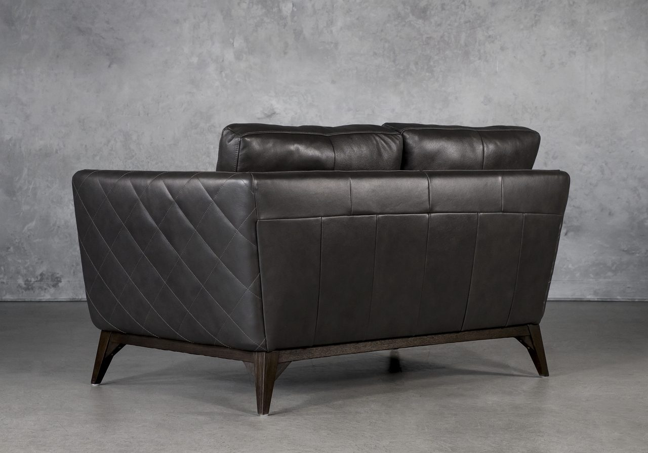Leo Loveseat in Charcoal Leather, Back