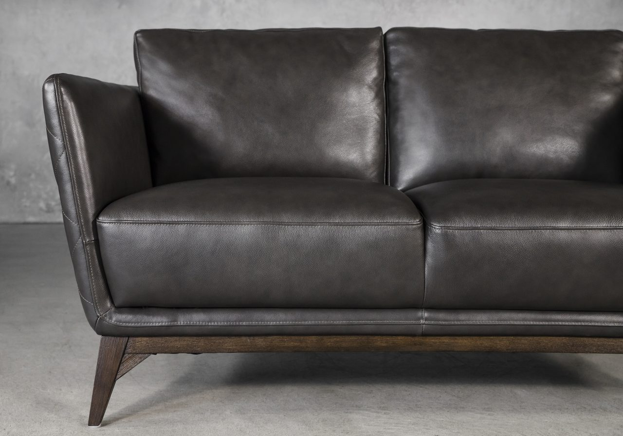 Leo Loveseat in Charcoal Leather, Close up