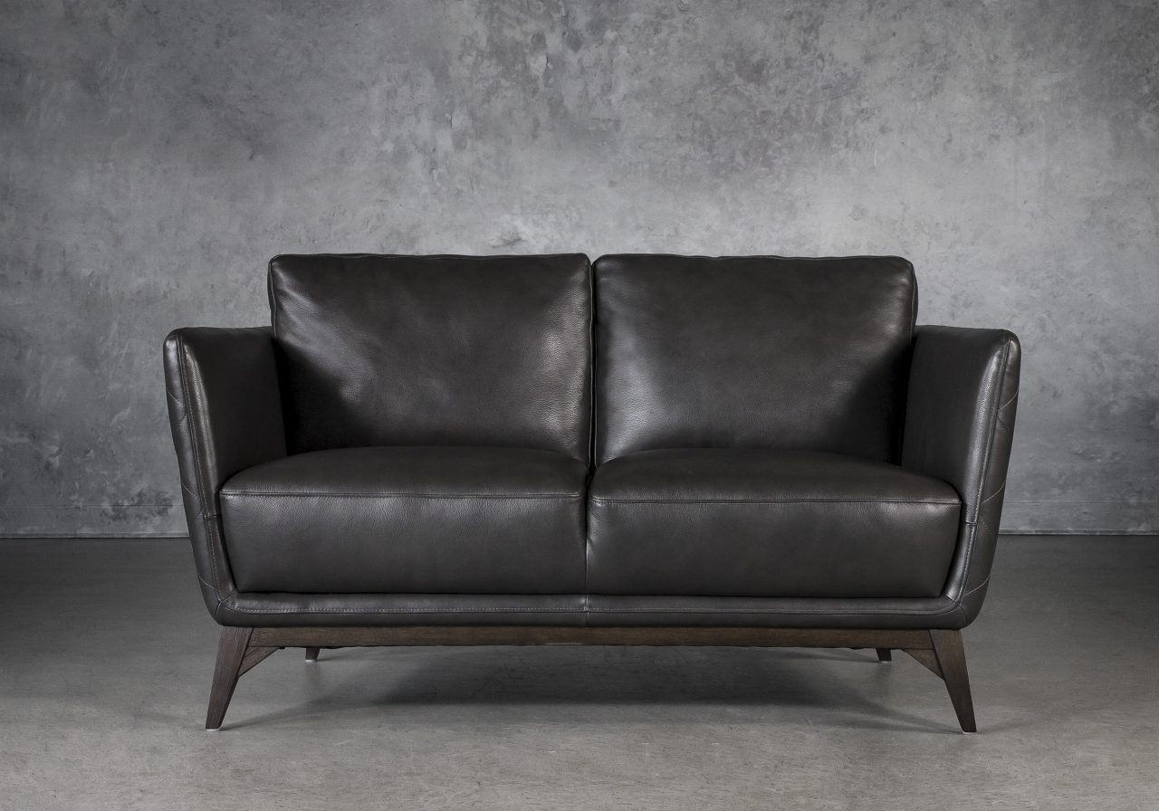 Leo Loveseat in Charcoal Leather, Front