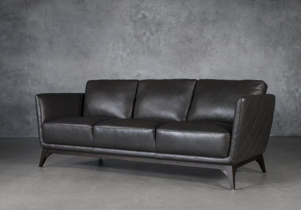 Leo Sofa in Charcoal Leather, Angle