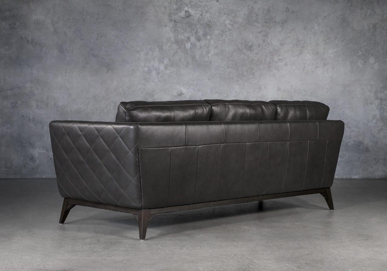 Leo Sofa in Charcoal Leather, Back