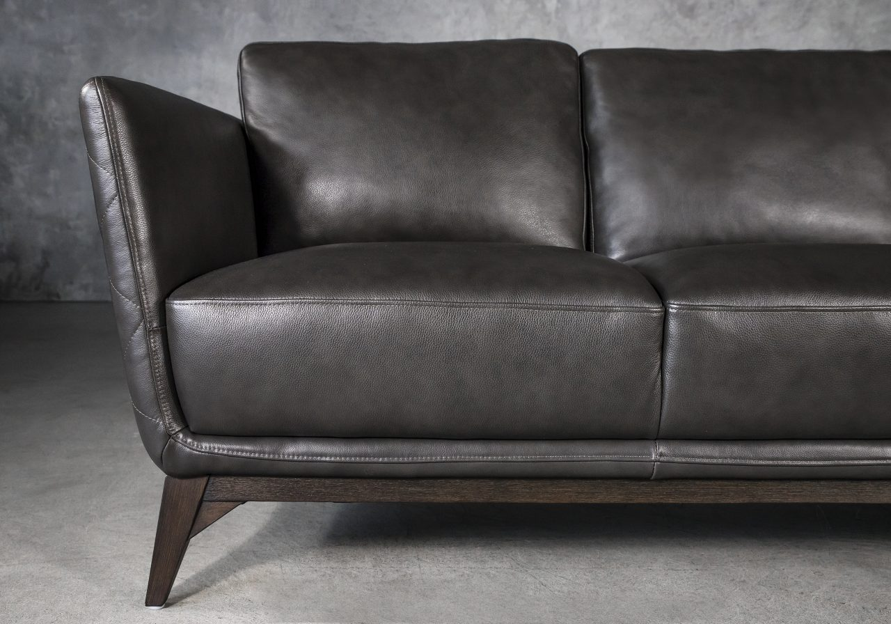 Leo Sofa in Charcoal Leather, Close Up