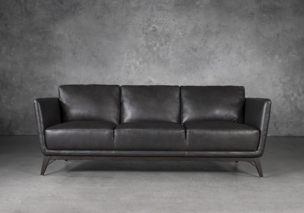Leo Sofa in Charcoal Leather, Front